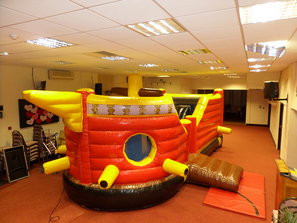 Walk the plank with this pirate-themed bouncy castle! The Pirate Ship is one of our most popular inflatables, including obstacles and climbing on top of the bouncing fun! Suitable for ages up to 12 years.
